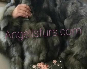 New,Natural Real SILVER Fox Fur coat!