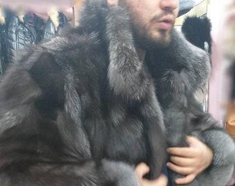 MEN'S New!Real Natural SILVER FOX Fur Coat!