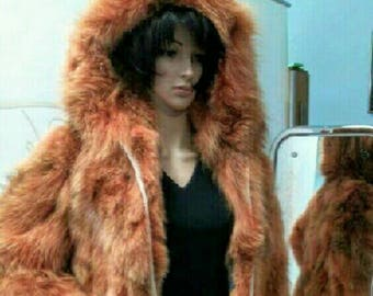 New,Natural Real Fox Hooded Coat in ORANGE!
