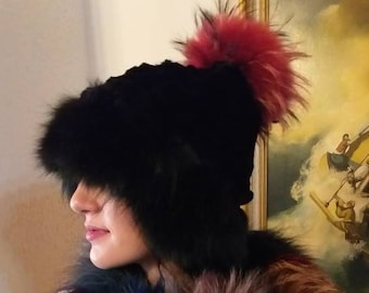 New!Modern One size Real fur sheared Rabbit Black cap with black Fox trim and red colored Raccoon pom on the top!