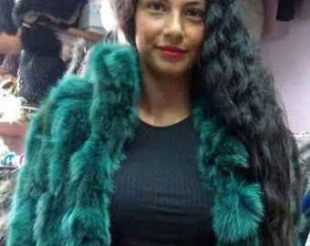 Bright GREEN!New,Natural Real Fur fox jacket