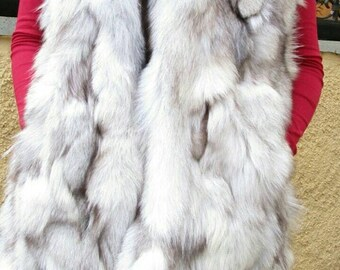 NEW Natural Real LONG Hooded  Fox Fur Vest!