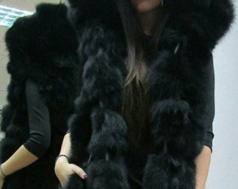 NEW! Natural,Real long Black Fox Hooded Fur Vest with leather stripes! New Model!