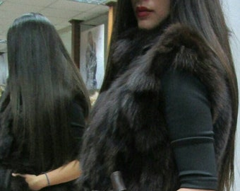 BROWN FOX VEST!Order Any color!Brand New Real Natural Genuine Fur!