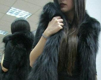 New Natural Real BLACK Half-fullskin Fox Fur vest!