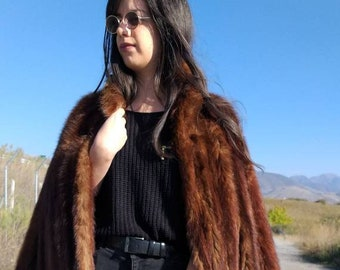 New!Natural Real Fullskin A-LINE Brown Sable Fur Coat!