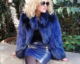 New!Amazing Natural Real Blue color RACCOON Fur Coat!