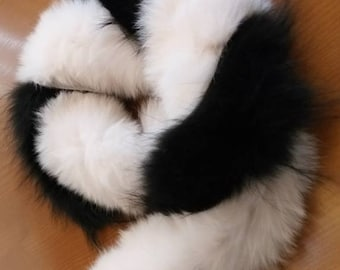 Double Beauty!New,Natural Real BLACK and WHITE Fox  scarf!