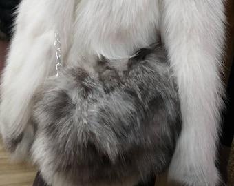 New!Real Natural,Real SILVER FOX Fur shoulder Bag!