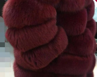 NEW!!!Natural Real Long Full Fox Fur Coat in beautiful Bordeaux  olor! Order in Any color!