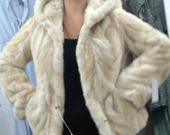 NEW Real Natural hooded MINK Fur jacket! Order Any color!