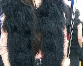 NEW! Natural,Real Black Mongolian Lamb Fur Vest!