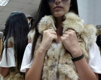 New!Natural Real Fox Fur Vest!