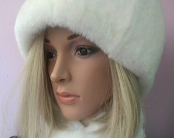 New!Natural,Real White REX Fur HAT!