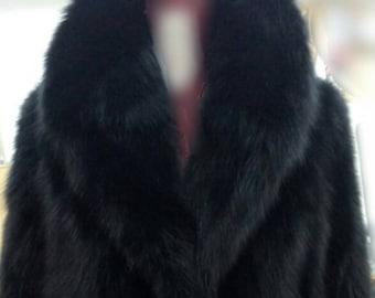 MEN'S New Real Natural BLACK  FOX Fur Coat with Beautiful Collar!
