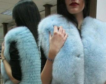 NEW! Natural,Real Light Blue Fullskin Fox Fur Vest!!!