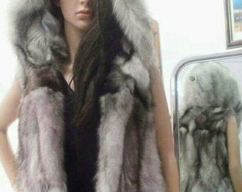 NEW,Natural,Real Hooded Blue Fox Fur Long Vest!