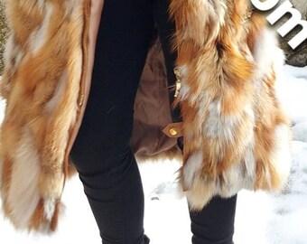 LONG RED FOX Fur Coat!Hooded!Brand New Real Natural Genuine Fur!