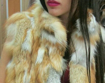 New Natural Real Red Fox Fur vest!