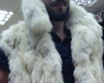 MEN'S!New Fur VEST!!! Real Natural Fox Fur Vest!!!
