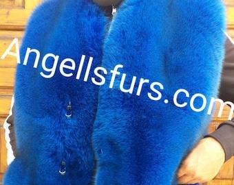MEN'S!New Real Natural full pelts Royal BLUE FOX Fur Vest!