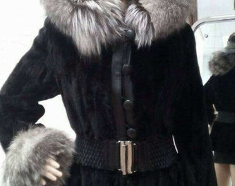 NEW Natural Real Hooded MINK Fur coat with FOX!