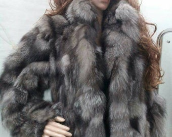 New Real Natural SILVER FOX Fur jacket!