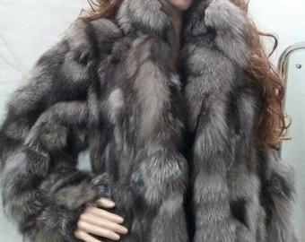 SILVER FOX Fur jacket!Brand New Real Natural Genuine Fur!