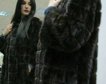 New Natural Real NEW MODEL  MINK Fur Coat!