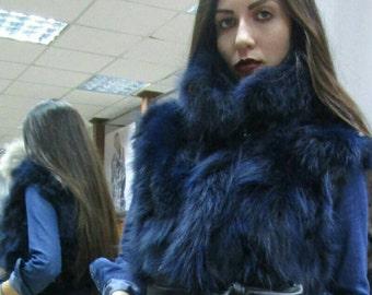 NEW!!! Natural,Real BLUE color Short Fox Fur Vest!!!
