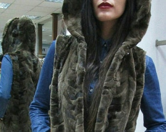New!!!Natural Real  hooded sheared Mink Fur vest in light brown color!