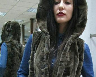 New!!!Natural Real  hooded sheared Mink Fur vest in light brown color!