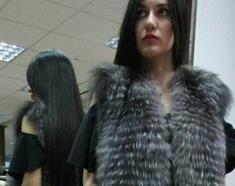 New,Real Natural Silver Fox Fur Vest!