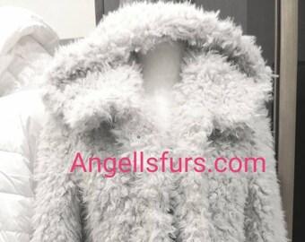 New!Natural Real SHEEP Hooded coat! Order Any color!