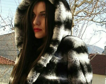 NEW!!!Natural Real Fullskin REX  fur Hooded jacket in Beautiful chinchilla color!
