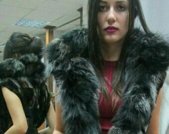 New model!Real Natural sheared Matilda Fox Fur Vest with fox stripes!