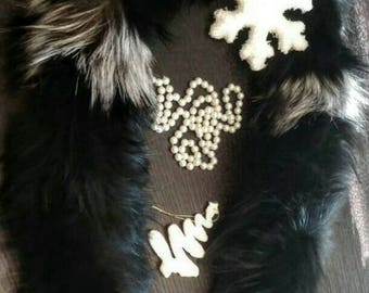 New!Natural Real Black and silver Fox  scarf!