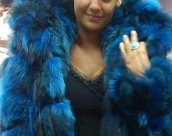 New,Natural, Real Modern color Hooded Fox Fur Jacket!