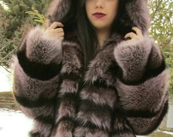 New!Natural Real Fullskin Amazing color RACCOON Hooded Fur Coat!!!