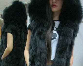 BASIC Black!NEW,Natural,Real BLACK Fox Hooded Fur Vest!