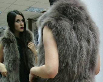 New!Natural Real Beautiful Dark Nude Color  half fullskin Fox Fur vest!