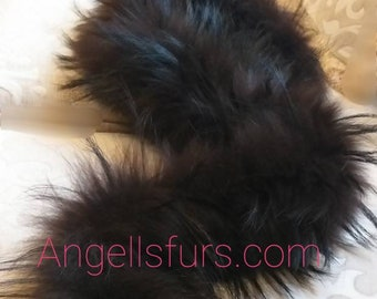 New Natural Real Beautiful FLUFFY  Dark Chocolate color Fox Scarf!
