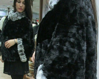 NEW!!!Fine Natural Real One size BLACK  Mink Fur Bolero-Jacket!!!