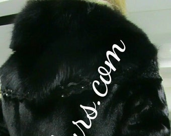 New Natural Real Beautiful Black Fullpelts REX Fur Jacket with Rich Fox collar!