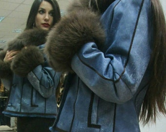 New! Natural Real Rabbit Fur-Leather short jacket with beautiful fox collar!!!