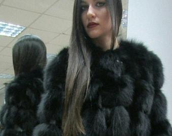 BLACK BEAUTY!!!New,Natural, Real Modern model Fox Fur jacket!!!