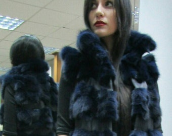 NEW! Natural,Real LONG BLue Fox  Fur Vest with leather stripes!