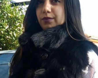 NEW! Natural,Real Black Fox Fur Vest with leather stripes