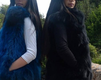 BASIC Black in thicker version!New Natural Real  Black Fox Fur vest!