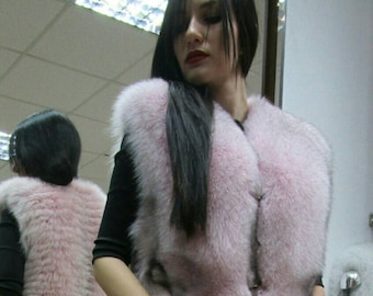 NEW! Natural,Real PINK Fullskin Fox Fur Vest!!!